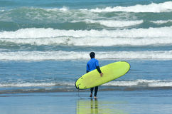 Surfing in Muriwai beach - New Zealand Stock Photography