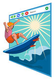 Surfing the net windows. Concept on surfing the internet stock illustration
