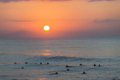 Surfing Ocean Sunrise Landscape Stock Photos