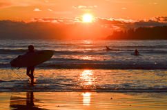 Surfing in the ocean at sunset. A surfer is heading home after spending a day surfing in the ocean Royalty Free Stock Photos