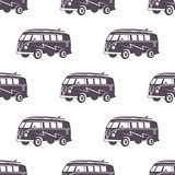 Surfing old style car pattern design. Summer seamless wallpaper with surfer van. Monochrome combi car. Vector Royalty Free Stock Photography