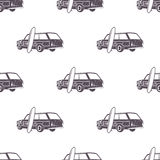 Surfing old style car pattern design. Summer seamless wallpaper with surfer van, surfboards. Monochrome combi car Royalty Free Stock Images