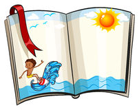 Surfing. Open book with beach and surfing design Stock Image