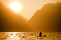 Surfing Paddle Sunset Royalty Free Stock Image