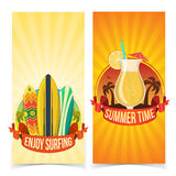 Surfing and partying banners Royalty Free Stock Photo