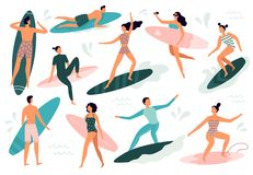 Surfing people. Surfer standing on surf board, surfers on beach and summer wave riders surfboards vector illustration stock photography