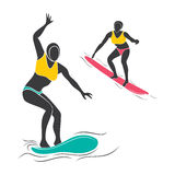Surfing player design Royalty Free Stock Images