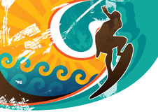 Surfing poster royalty free illustration