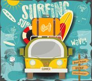 Surfing Poster. Retro Hawaii. Mini Van with Surfboards and Vintage Suitcase. Vector Illustrator Stock Illustration