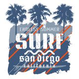 Surfing print 013. Surfing artwork. Surf California t-shirt graphic design. Vintage graphic Tee. Vector Illustration on the theme of surfing in California Stock Images