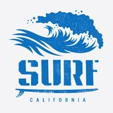 Surfing print 007. Surfing California t shirt design, vintage illustration with an ocean wave and a surfboard. Surf typography. Tee graphics Stock Photo