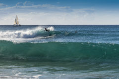 Surfing at Reeds Bay, Barbados Stock Photography