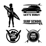 Surfing related labels set. Vector vintage illustration. Stock Photography