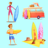 Surfing Retro Cartoon 2x2 Icons Set Stock Photography