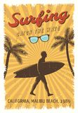 Surfing Retro Poster Stock Photo