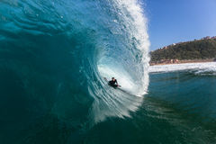 Surfing Rider Hollow Crashing Tube Blue Ocean Wave Stock Photo