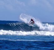 Surfing Samoa. A surfer catching a wave in Samoa Royalty Free Stock Image