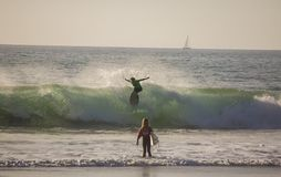 Surfing at San Clemente beach, California royalty free stock image