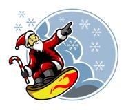 Surfing Santa I płatki śniegu Zdjęcie Royalty Free