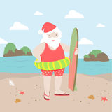 Surfing Santa Royalty Free Stock Images