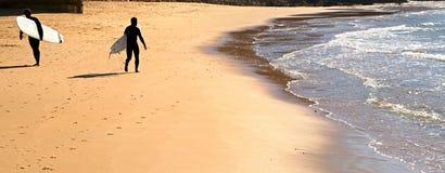 Surfing scene, panorama Royalty Free Stock Photo