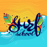 Surfing school logo, emblem or label design template with surf board. Surf school t-shirt print vector concept. surf board with hand drawn letters about surf Royalty Free Stock Photography