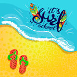 Surfing school logo, emblem or label design template with surf board. Surf school t-shirt print vector concept. surf board with hand drawn letters about surf Royalty Free Stock Photos