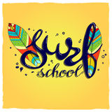 Surfing school logo, emblem or label design template with surf board. Surf school t-shirt print vector concept. surf board with hand drawn letters about surf Stock Photos