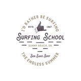 Surfing school vintage emblem. Retro logo design with shaka sign and typography elements. Stock vector isolated on white Royalty Free Stock Photography