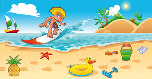 Surfing in the sea. Funny cartoon and  illustration Stock Photo