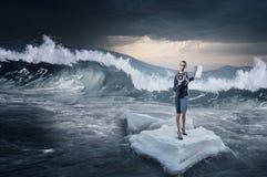 Surfing sea on ice floe. Mixed media Stock Photography