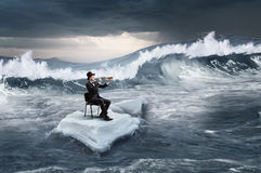 Surfing sea on ice floe. Mixed media Stock Images