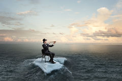 Surfing sea on ice floe. Mixed media Royalty Free Stock Photography
