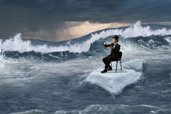 Surfing sea on ice floe. Mixed media Stock Image