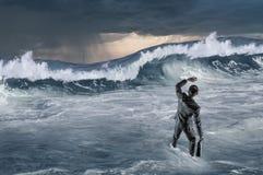 Surfing sea on ice floe Royalty Free Stock Photo