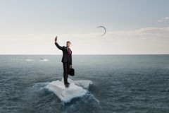 Surfing sea on ice floe Royalty Free Stock Image