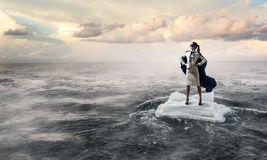 Surfing sea on ice floe Royalty Free Stock Photos