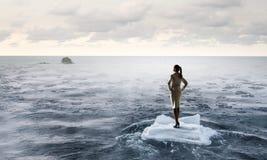 Surfing sea on ice floe Stock Image