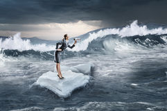 Surfing sea on ice floe Stock Images