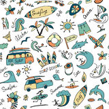 Surfing seamless pattern, sketch for your design Stock Photography