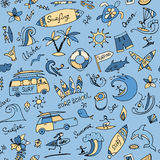 Surfing seamless pattern, sketch for your design Royalty Free Stock Images