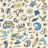 Surfing seamless pattern, sketch for your design Royalty Free Stock Photos