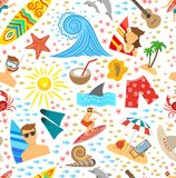 Surfing Seamless Pattern Royalty Free Stock Photos