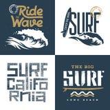 Surfing set 002. Surfing artworks set / Surfrider print design / T-shirt apparel print graphics / Original graphic Tee Stock Photo