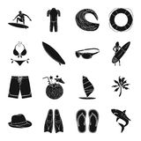Surfing set icons in black style. Big collection of surfing vector symbol stock illustration Stock Photo