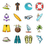 Surfing set icons in cartoon style. Big collection of surfing vector symbol stock illustration Stock Photography