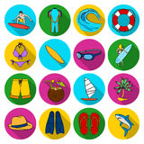 Surfing set icons in flat style. Big collection of surfing vector symbol stock illustration Royalty Free Stock Photo