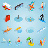 Surfing set icons, isometric 3d style Royalty Free Stock Photos