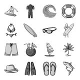 Surfing set icons in monochrome style. Big collection of surfing vector symbol stock illustration Royalty Free Stock Image