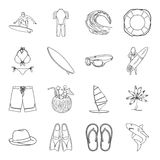 Surfing set icons in outline style. Big collection of surfing vector symbol stock illustration Royalty Free Stock Photos